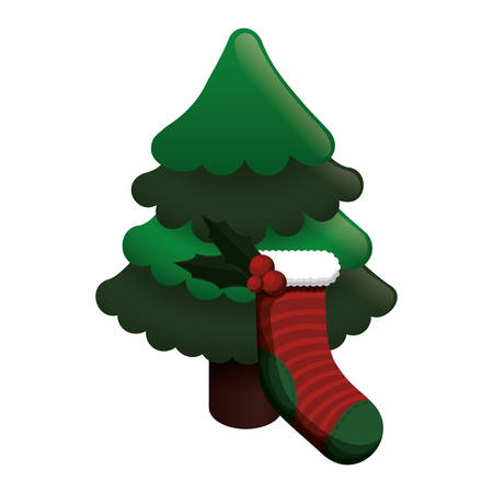 pine tree plant sock merry christmas celebration decoration icon. Flat and Isolated design. Vector illustration