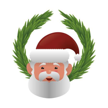 corona navidad: santa pine crown merry christmas celebration decoration icon. Flat and Isolated design. Vector illustration