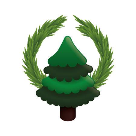 corona navidad: pine tree plant crown merry christmas celebration decoration icon. Flat and Isolated design. Vector illustration