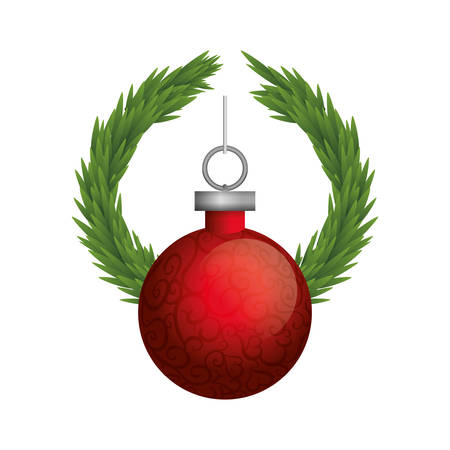 corona navidad: sphere red crown pine merry christmas celebration decoration icon. Flat and Isolated design. Vector illustration