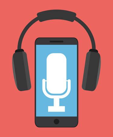 con: microphone smartphone gadget tool music sound voice con. Flat design. Vector illustration Illustration