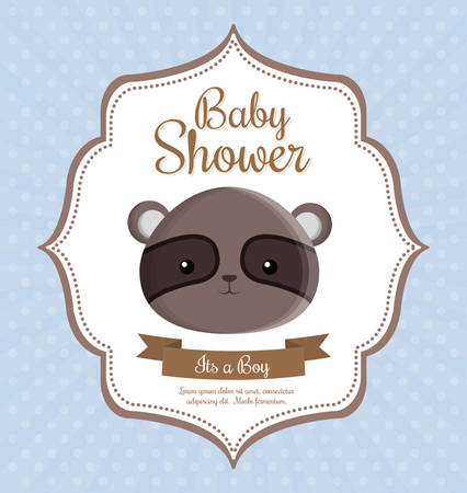 spectacled: spectacled bear animal cartoon baby shower card celebration party icon. Colorful and flat design. Vector illustration