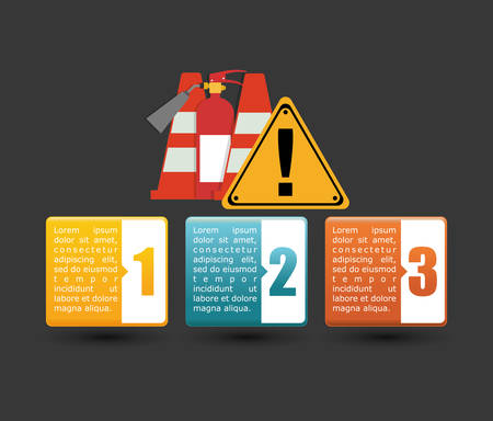 infographic cone extinguisher road sign industrial security safety protection icon set. Colorful and flat design. Vector illustration