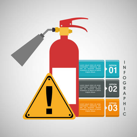 road construction: infographic extinguisher road sign industrial security safety protection icon set. Colorful and flat design. Vector illustration