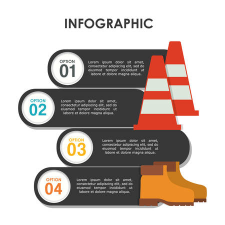 precautions: infographic cone boots industrial security safety protection icon set. Colorful and flat design. Vector illustration