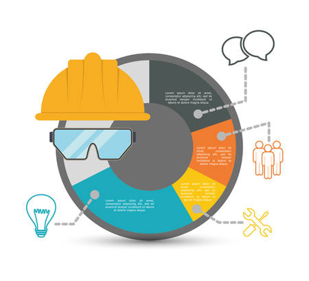 industrial safety: infographic helmet glasses industrial security safety protection icon set. Colorful and flat design. Vector illustration