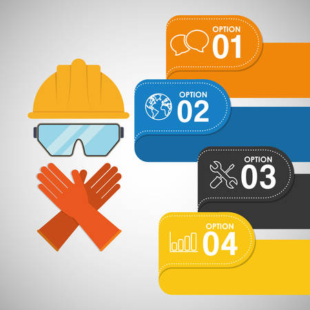 safety gloves: infographic helmet glasses gloves industrial security safety protection icon set. Colorful and flat design. Vector illustration