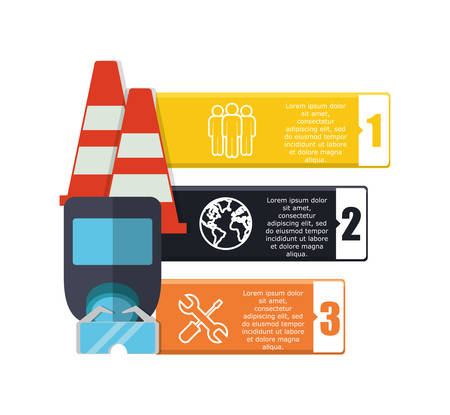 detection: infographic cone glasses mask industrial security safety protection icon set. Colorful and flat design. Vector illustration Illustration