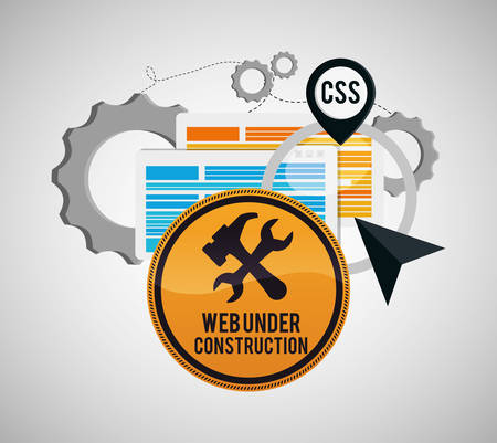 vector sign under construction: under construction tools road sign gears site web online digital icon set. Colorful and flat design. Vector illustration