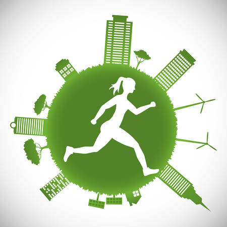 wind mill: runner athlete woman girl city urban buildings wind mill solar panel running training fitness healthy lifestyle sport marathon icon. Colorful and flat design. Vector illustration