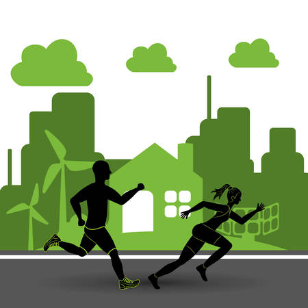 wind mill: runner man woman wind mill solar panel city athlete running training fitness healthy lifestyle sport marathon icon. Colorful and flat design. Vector illustration