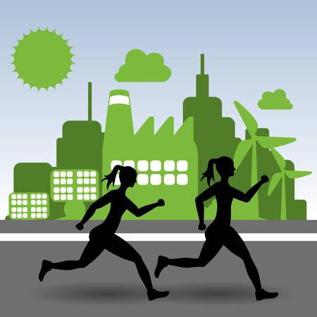 endurance run: runner athlete woman girl city urban buildings wind mill solar panel running training fitness healthy lifestyle sport marathon icon. Colorful and flat design. Vector illustration