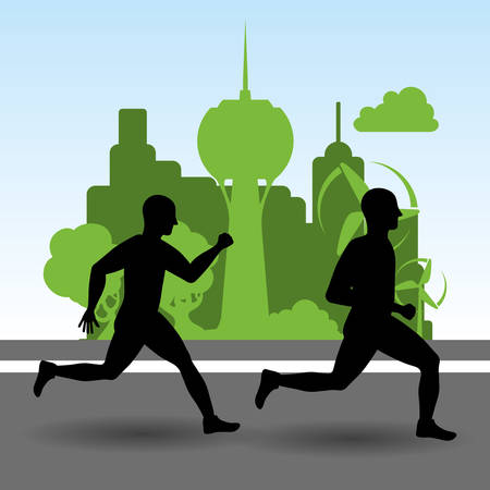 runner athlete man male tower city building urban running training fitness healthy lifestyle sport marathon icon. Colorful and flat design. Vector illustration