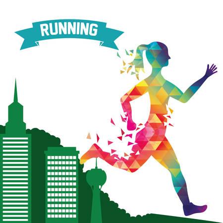 endurance run: runner athlete woman girl polygonal city urban buildings running training fitness healthy lifestyle sport marathon icon. Colorful and flat design. Vector illustration Illustration