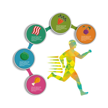 runner athlete man male food running training fitness healthy lifestyle sport marathon icon. Colorful and flat design. Vector illustration Illustration