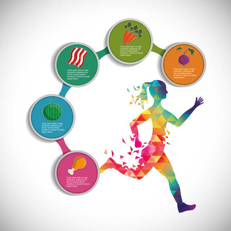 runner athlete woman girl food running training fitness healthy lifestyle sport marathon icon. Colorful and flat design. Vector illustration