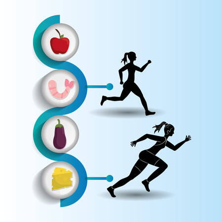joggers: runner athlete woman girl food running training fitness healthy lifestyle sport marathon icon. Colorful and flat design. Vector illustration