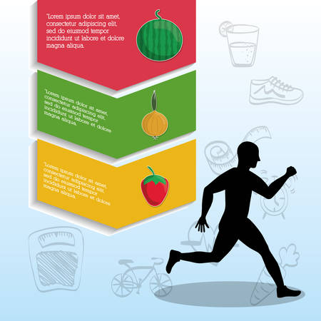 endurance run: runner athlete man male food running training fitness healthy lifestyle sport marathon icon. Colorful and flat design. Vector illustration Illustration