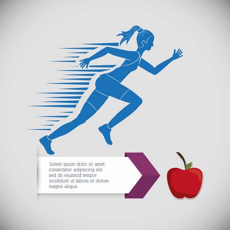 girl apple: runner athlete woman girl apple running training fitness healthy lifestyle sport marathon icon. Colorful and flat design. Vector illustration