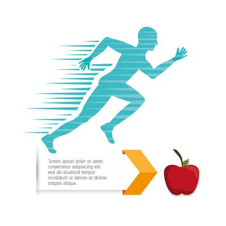 endurance run: runner athlete man male apple running training fitness healthy lifestyle sport marathon icon. Colorful and flat design. Vector illustration