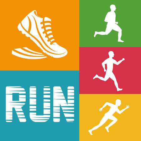 endurance run: runner athlete man male shoes running training fitness healthy lifestyle sport marathon icon. Colorful and flat design. Vector illustration Illustration