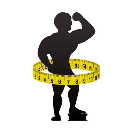man muscle meter healthy lifestyle fitness gym bodybuilding icon. Flat and Isolated design. Vector illustration