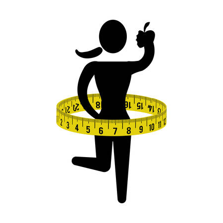 woman apple: meter woman apple girl healthy lifestyle fitness gym bodybuilding icon. Flat and Isolated design. Vector illustration