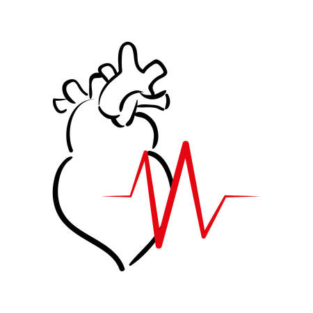 heart cardio healthy lifestyle fitness gym bodybuilding icon. Flat and Isolated design. Vector illustration