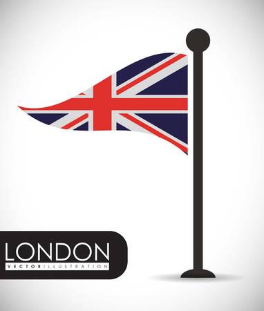british culture: flag london england landmark patriotic british culture icon. Colorful design. Vector illustration Illustration