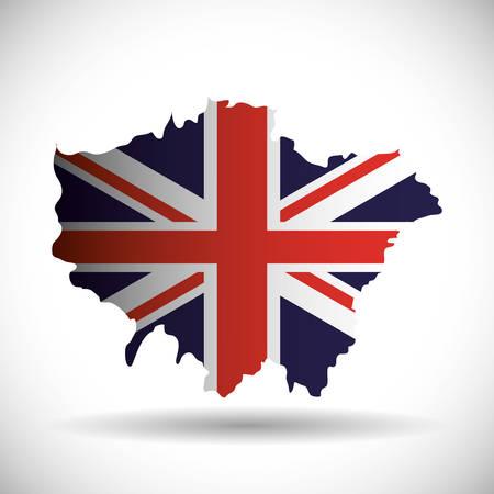 british culture: flag map london england landmark patriotic british culture icon. Colorful design. Vector illustration