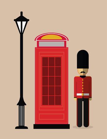 british culture: telephone lamp soldier london england landmark patriotic british culture icon. Colorful design. Vector illustration