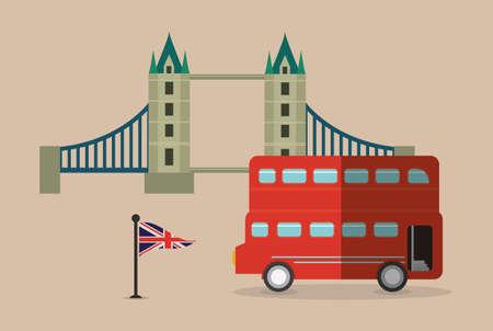 british culture: bus flag bridge london england landmark patriotic british culture icon. Colorful design. Vector illustration