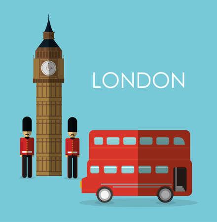 british culture: bus big ben soldier london england landmark patriotic british culture icon. Colorful design. Vector illustration Illustration