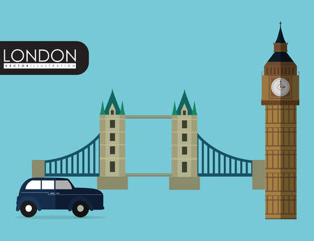 british culture: car bridge big ben london england landmark patriotic british culture icon. Colorful design. Vector illustration Illustration