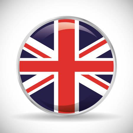 british culture: flag button london england landmark patriotic british culture icon. Colorful design. Vector illustration