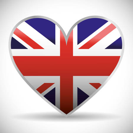 flag heart london england landmark patriotic british culture icon. Colorful design. Vector illustration