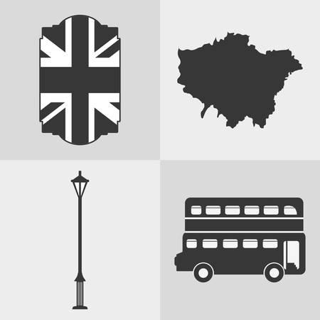 british culture: flag lamp bus map london england landmark patriotic british culture icon. Colorful design. Vector illustration Illustration
