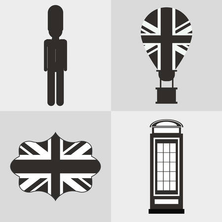 british culture: flag telephone soldier hot air balloon london england landmark patriotic british culture icon. Silhouette design. Vector illustration Illustration