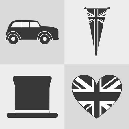 british culture: flag car hat automobile london england landmark patriotic british culture icon. Silhouette design. Vector illustration Illustration