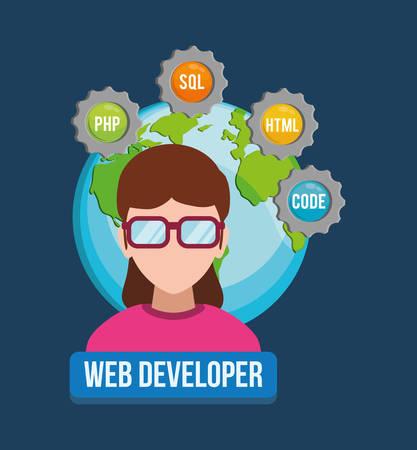 girl glasses: woman girl glasses planet developer web responsive development website programming icon set. Colorful design. Vector illustration