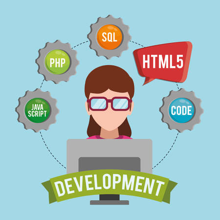girl glasses: woman girl glasses computer gears developer web responsive development website programming icon set. Colorful design. Vector illustration