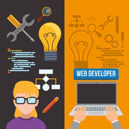 girl glasses: woman girl glasses laptop bulb tools developer web responsive development website programming icon set. Colorful design. Vector illustration