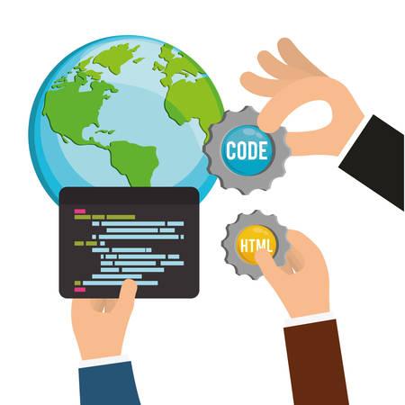 interface scheme: planet gears developer web responsive development website programming icon set. Colorful design. Vector illustration