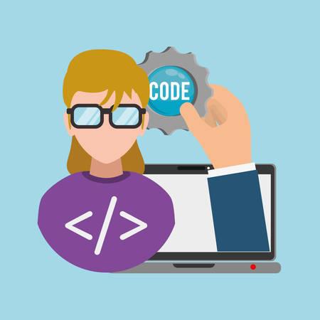 girl glasses: woman girl glasses gear laptop developer web responsive development website programming icon set. Colorful design. Vector illustration