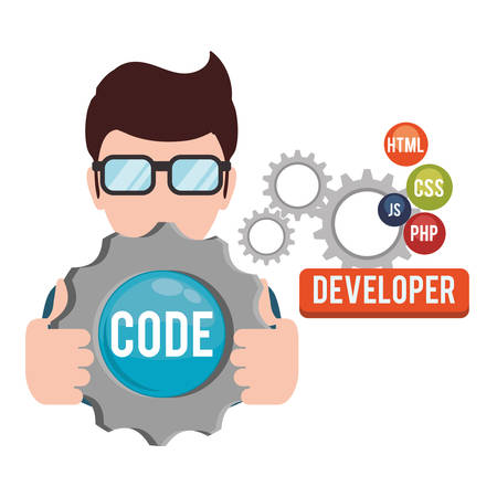 man boy glasses gears developer web responsive development website programming icon set. Colorful design. Vector illustration