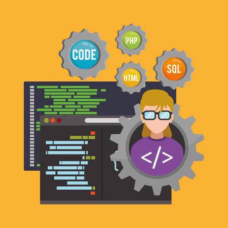 girl glasses: woman girl glasses gears developer web responsive development website programming icon set. Colorful design. Vector illustration