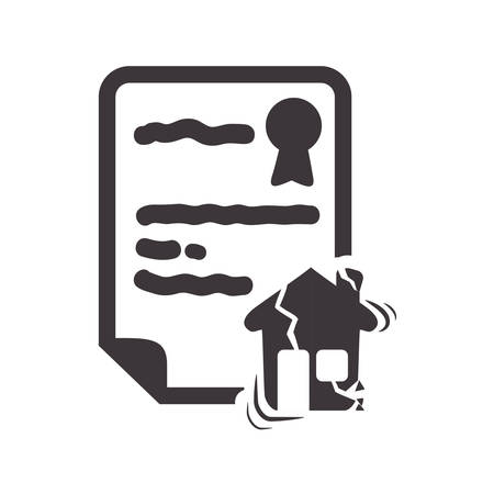 broken house: house home broken insurance seal stamp protection security accident icon. Flat and Isolated design. Vector illustration Illustration