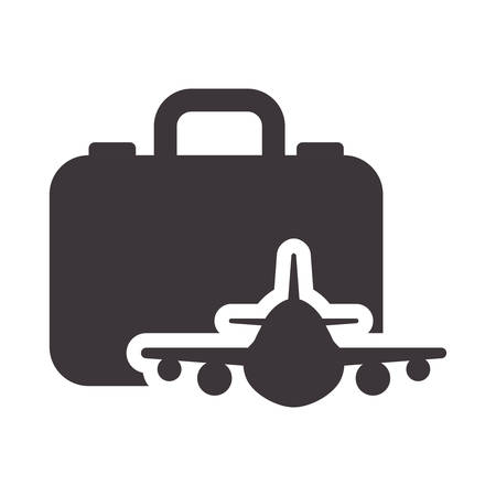 airplane travel: suitcase airplane bag airplane travel baggage luggage instrument icon. Flat and Isolated design. Vector illustration