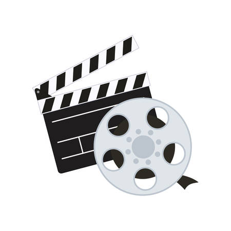 clapboard: clapboard film reel cinema movie entertainment show icon. Flat and Isolated design. Vector illustration