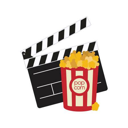 pop corn: clapboard pop corn film cinema movie entertainment show icon. Flat and Isolated design. Vector illustration